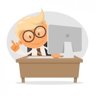 Hombre de negocios con un ordenador