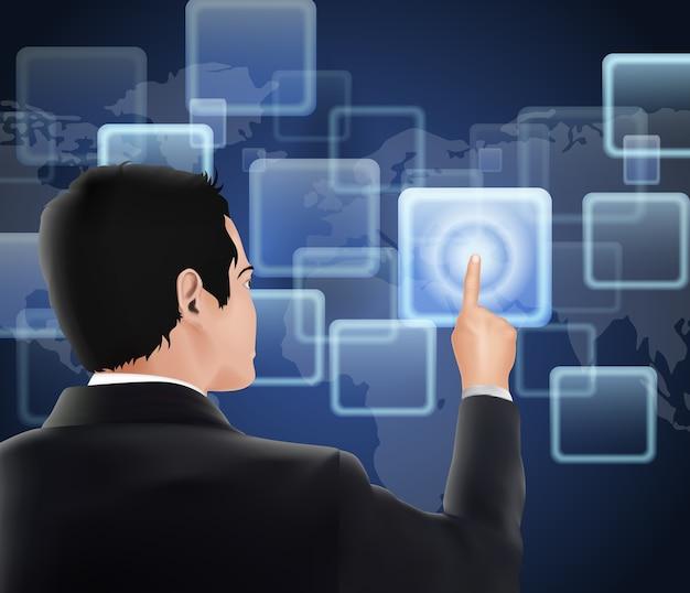 Hombre de negocios de la pantalla táctil visual