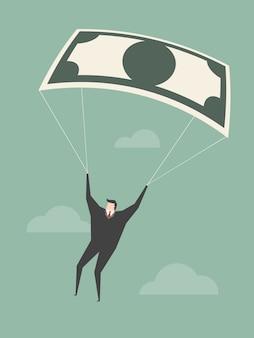 Hombre de negocios con paracaidas