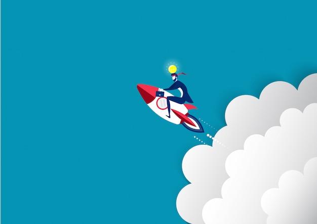 El hombre de negocios pasa al vuelo de la luna en la mejora de lanzamiento de cohetes de velocidad de lanzamiento concepto de vector.