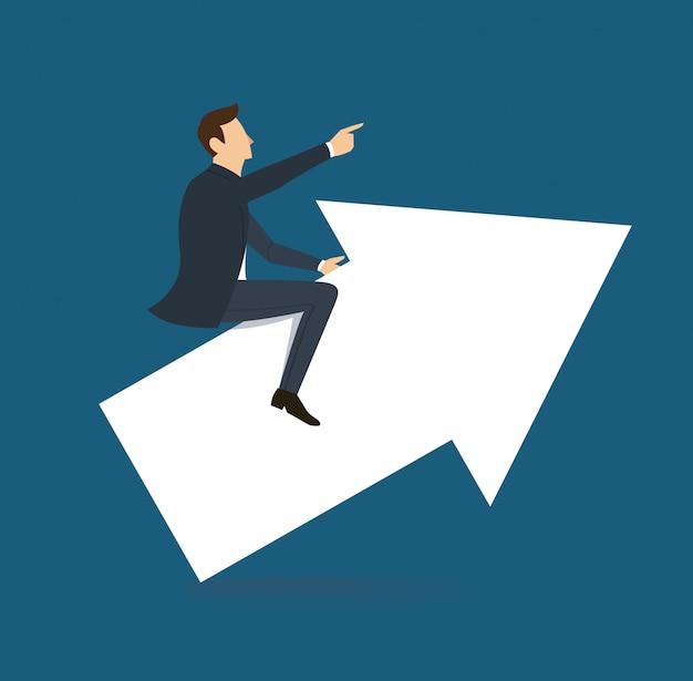 Hombre de negocios paseo en flecha
