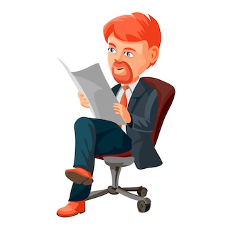 Hombre de negocios con pelo rojo y barba leyendo el periódico. hombre sentado en una silla. ilustración de vector de personaje de dibujos animados, aislado sobre fondo blanco.