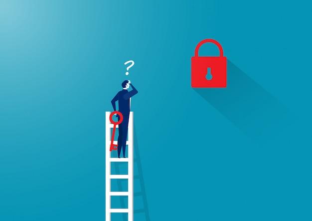Hombre de negocios pensando desbloquear en la escalera lejos de la llave