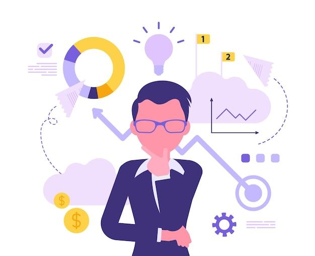 Hombre de negocios pensando en nuevo proyecto. inspiración comercial para un gerente masculino creativo, emprendedor con una gran idea para obtener ganancias financieras en mente. ilustración abstracta de vector con carácter sin rostro