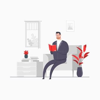 Hombre de negocios personaje concepto ilustración libro de lectura relajarse vacaciones sala de estar actividad en casa