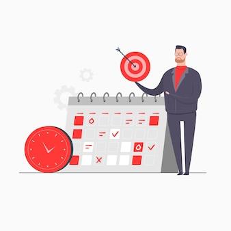 Hombre de negocios personaje concepto ilustración presentación gestión del tiempo objetivo