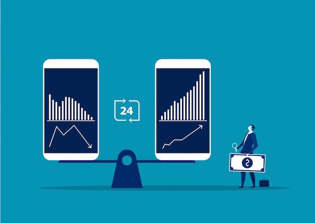 El hombre de negocios está de pie delante del teléfono inteligente portátil comparar gráfico de marketing de acciones