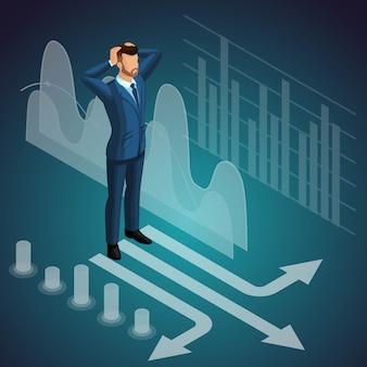 Hombre de negocios de pie en la encrucijada, meditaciones, pensamiento, hombre piensa, traje caro, lluvia de ideas. ilustración