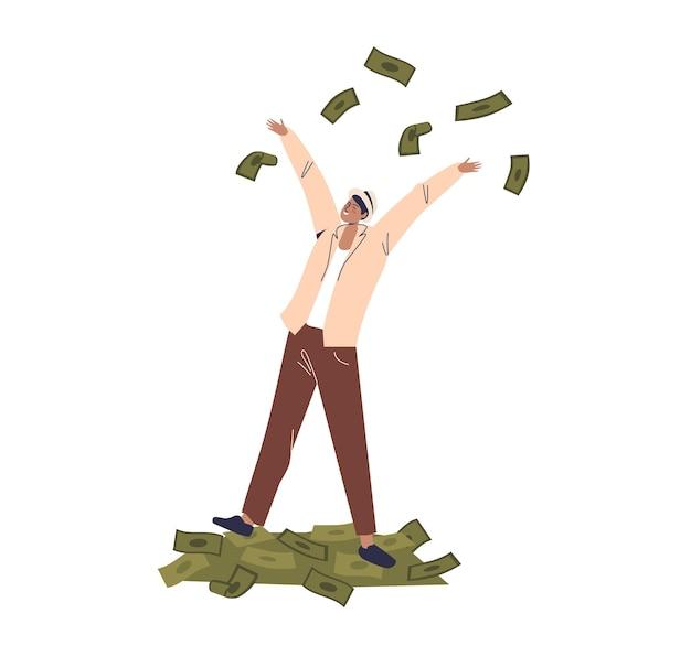 Hombre de negocios de pie sobre un montón de dólares y tirando efectivo