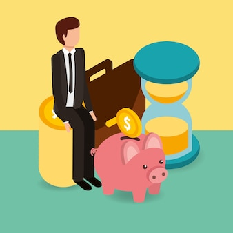 Hombre de negocios en pila monedas