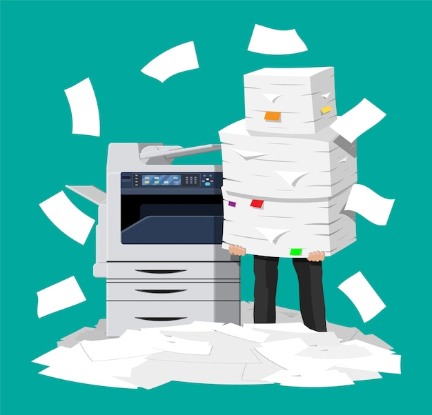 Hombre de negocios en pila de papeles. máquina multifunción de oficina.