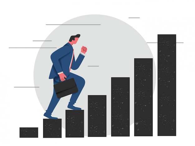 Hombre de negocios pisando una escalera de carrera para tener éxito