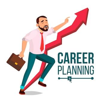 Hombre de negocios, planificación de carrera