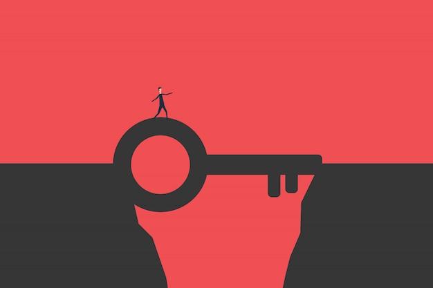 Hombre de negocios plano lucha a través de las montañas con las llaves