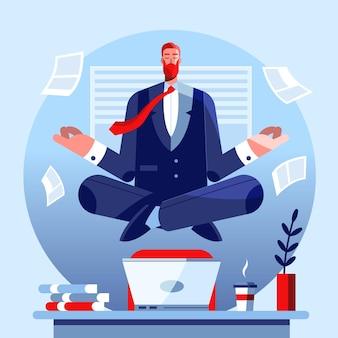 Hombre de negocios plano meditando ilustración