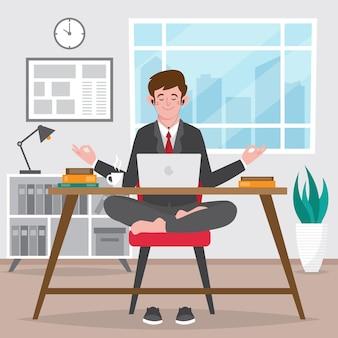 Hombre de negocios plano orgánico meditando