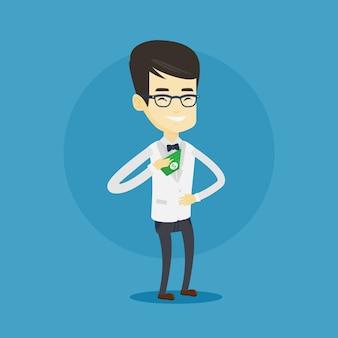 Hombre de negocios poniendo dinero soborno en el bolsillo.