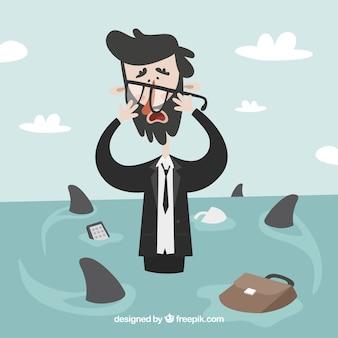 Hombre de negocios preocupado rodeado de tiburones