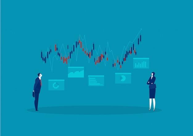 Hombre de negocios que busca el mercado de valores de gráfico creciente con un concepto de inversión de flecha