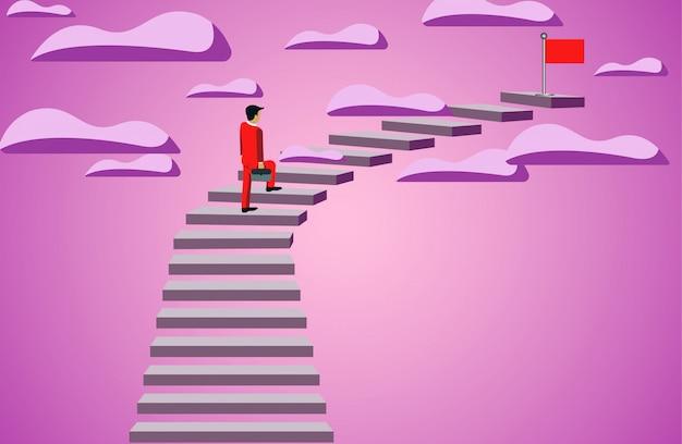 Hombre de negocios que camina encima de la escalera para apuntar la bandera roja. objetivo de éxito empresarial. liderazgo