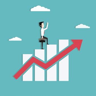 Hombre de negocios que camina en el gráfico cada vez mayor