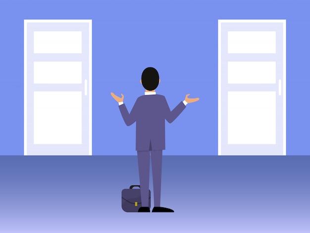 Hombre de negocios que se coloca delante de la ilustración de dos puertas.