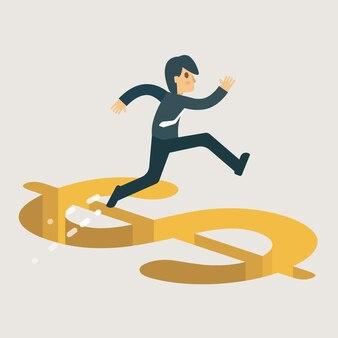 Hombre de negocios que cruza la ilustración de la trampa del dinero.