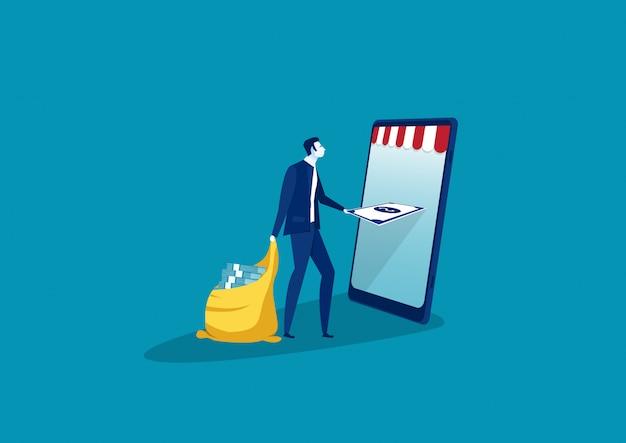 Hombre de negocios que da el dinero del negocio del beneficio del smartphone, ilustración.