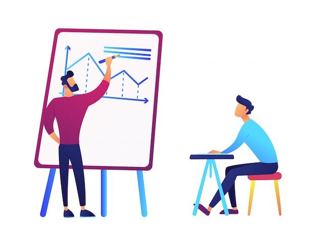 El hombre de negocios que dibuja la carta del análisis de negocio y el hombre de negocios en el escritorio vector la ilustración.