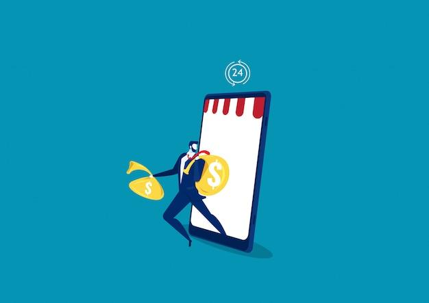 El hombre de negocios que se ejecuta con el bolso grande se beneficia del concepto de compras del comercio electrónico