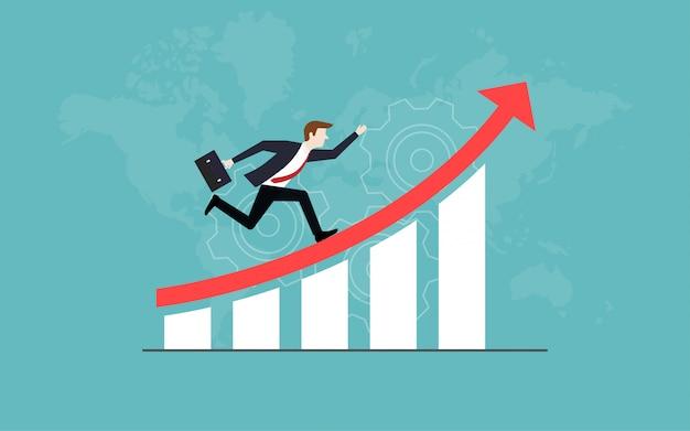 Hombre de negocios que se ejecuta en la flecha roja hacia arriba para el éxito