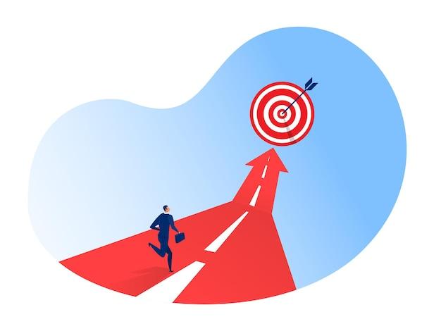 Hombre de negocios que se ejecuta en el ilustrador del éxito de la flecha hacia adelante.