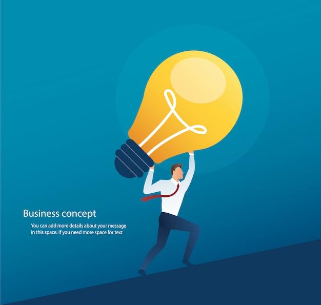Hombre de negocios que lleva el concepto de la bombilla de pensamiento creativo