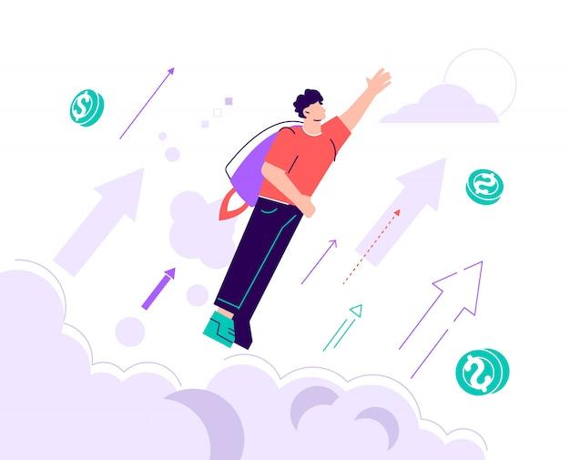 Hombre de negocios que lleva un jetpack y que despega al cielo alto. ilustración, subir de motivación, la forma de lograr el objetivo, jet pack. ilustración de diseño moderno de estilo plano para página web