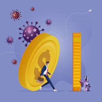 Hombre de negocios que lucha por sostener la moneda debido al efecto del brote del virus corona