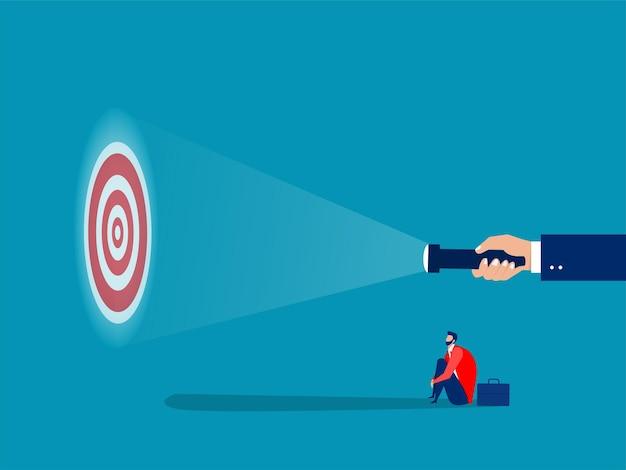 Hombre de negocios que mira la guía en los objetivos para disparar el ilustrador del vector del concepto del éxito