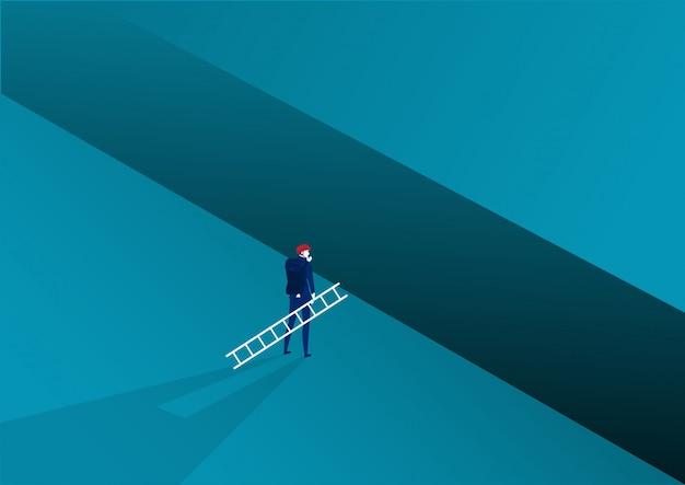 El hombre de negocios que mira lleva la cruz de la escalera al éxito de la meta con desafío. ilustración