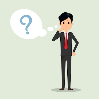 El hombre de negocios que piensa con el signo de interrogación en piensa burbuja.