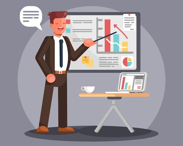 Hombre de negocios que presenta datos de marketing en un tablero de pantalla de presentación explicando gráficos.
