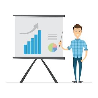 Hombre de negocios que presenta datos de marketing