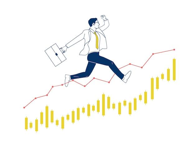 El hombre de negocios que salta para arriba en el gráfico común.