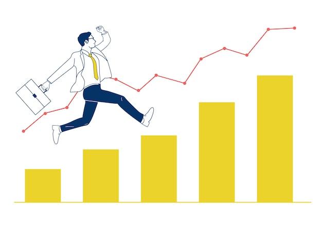 El hombre de negocios que salta para arriba en gráfico.