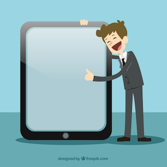El hombre de negocios que señala en una pantalla