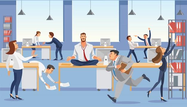 El hombre de negocios que se sienta en la tabla y el ceep calp en la meditación se relajan.
