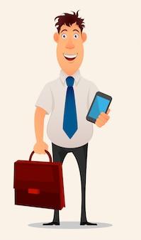Hombre de negocios que sostiene la computadora portátil y el caso del documento