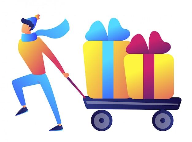 Hombre de negocios que tira de una carretilla o carro con regalos de navidad ilustración vectorial.