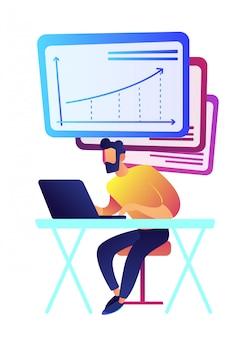 Hombre de negocios que trabaja en la computadora portátil con la ilustración del vector de las cartas.