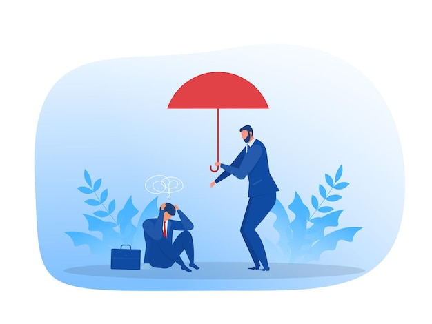 Hombre de negocios reconfortante amigo triste. apoyo, salud mental, concepto de empatía concepto ilustración plana