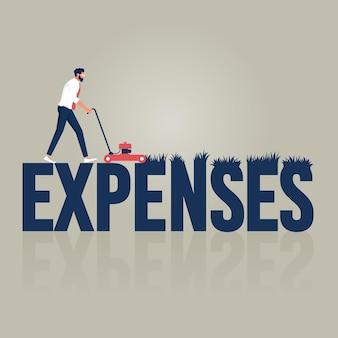 Hombre de negocios recortando gastos de una palabra con un concepto de economía y ahorro de dinero de la cortadora de césped
