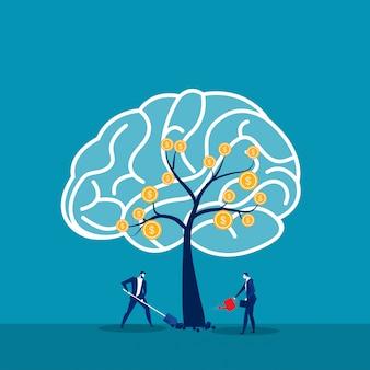 El hombre de negocios regando los árboles piensa en el concepto de idea de mentalidad de crecimiento vector.